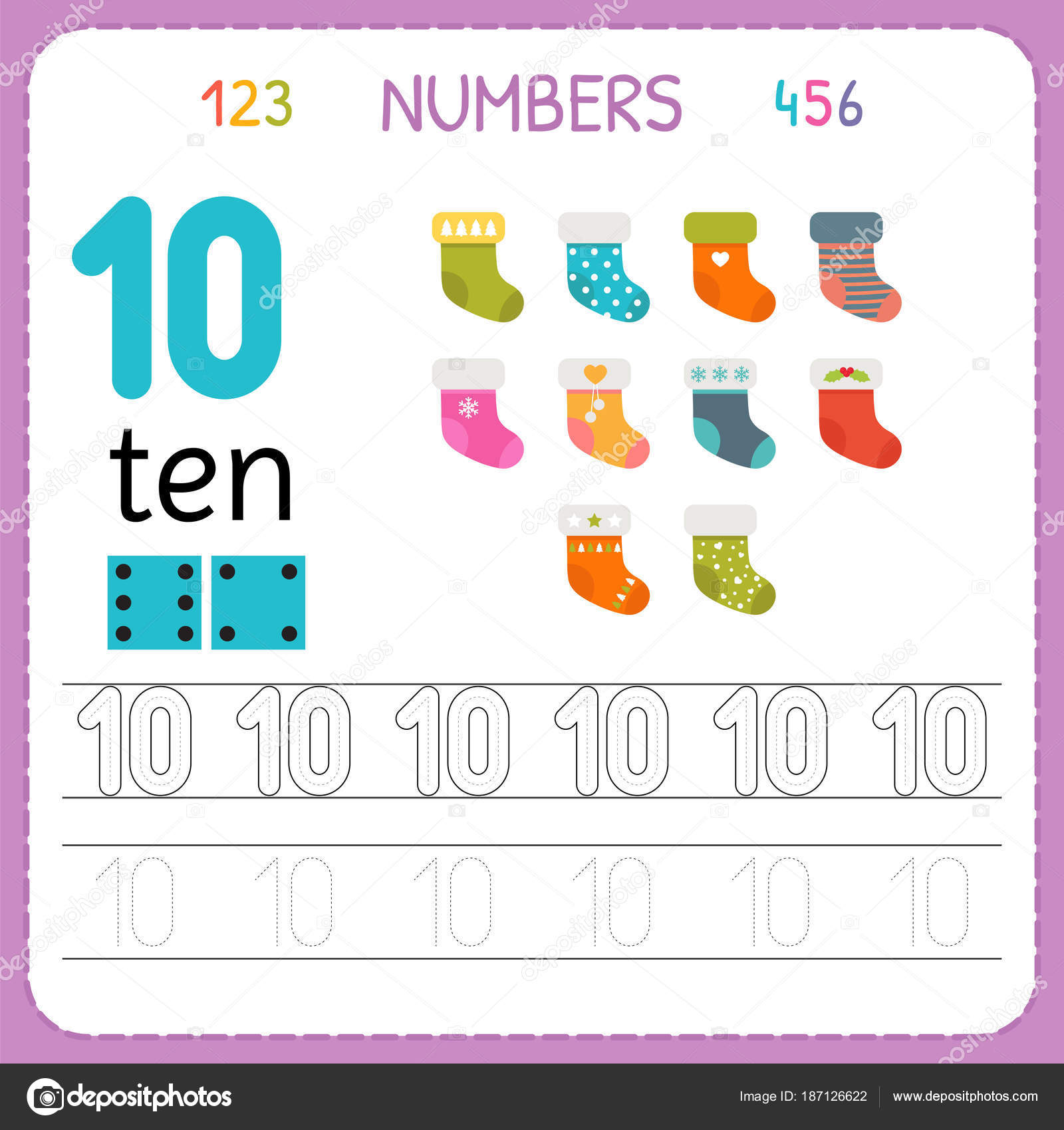 Numbers tracing worksheet for preschool and kindergarten. Writing ...