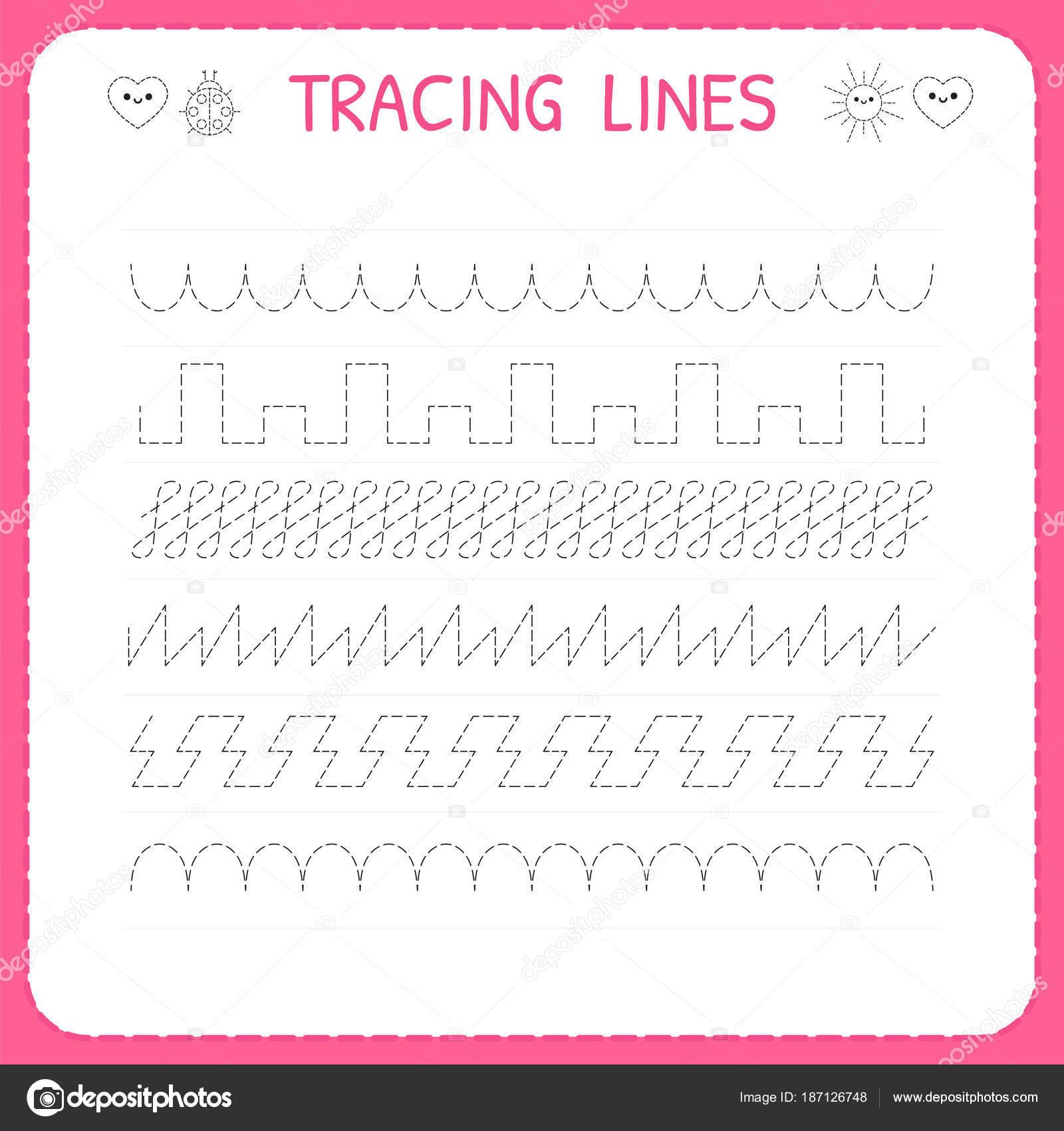 Spur Linie Arbeitsblatt für Kinder. Zeichnen Sie das Muster ...
