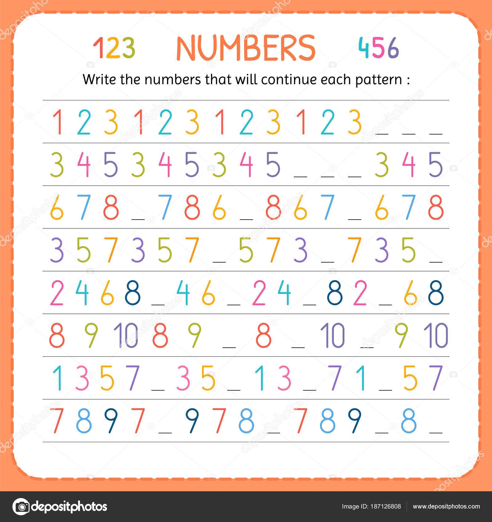 Schreiben Sie die Zahlen, die jedes Muster fortsetzen werden. Zahlen ...