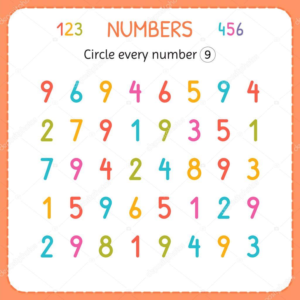 Entourez chaque numéro neuf. Numéros pour les enfants ...