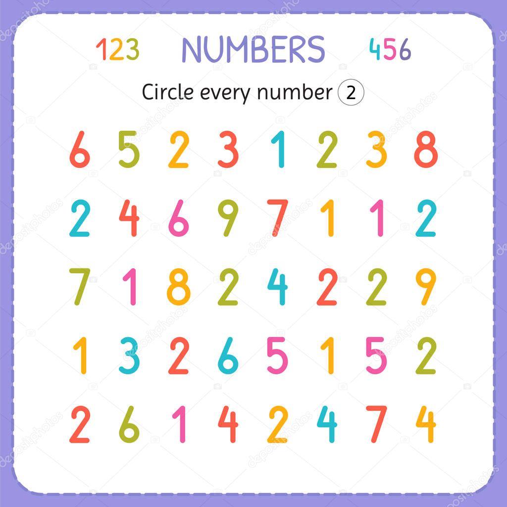 Ogni numero due del cerchio numeri per i bambini foglio - Numero di fogli di lavoro per bambini ...
