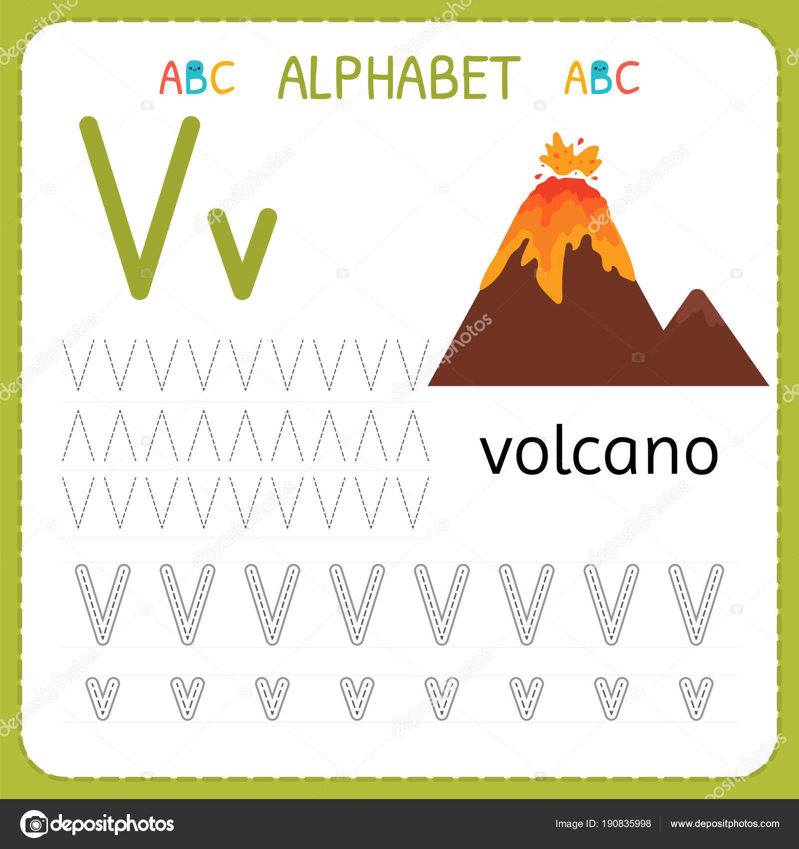 Alphabet tracing worksheet for preschool and kindergarten writing alphabet tracing worksheet for preschool and kindergarten writing practice letter v exercises for kids spiritdancerdesigns Images