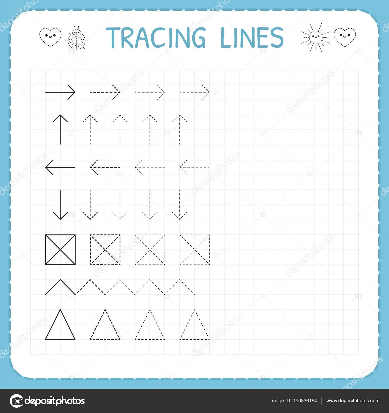 Ablaufverfolgung Linien. Arbeiten-Seiten für Kinder. Vorschule oder ...