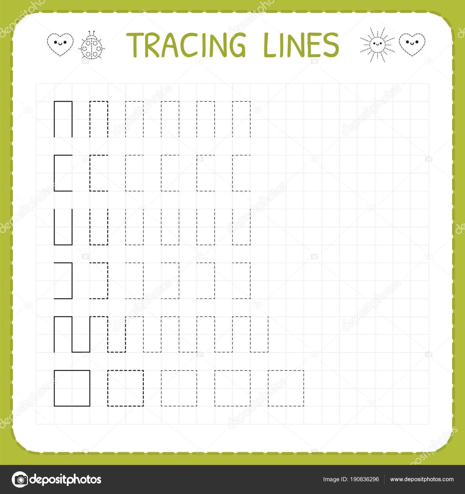 Ablaufverfolgung Linien. Arbeitsblatt für Kinder. Arbeiten-Seiten ...