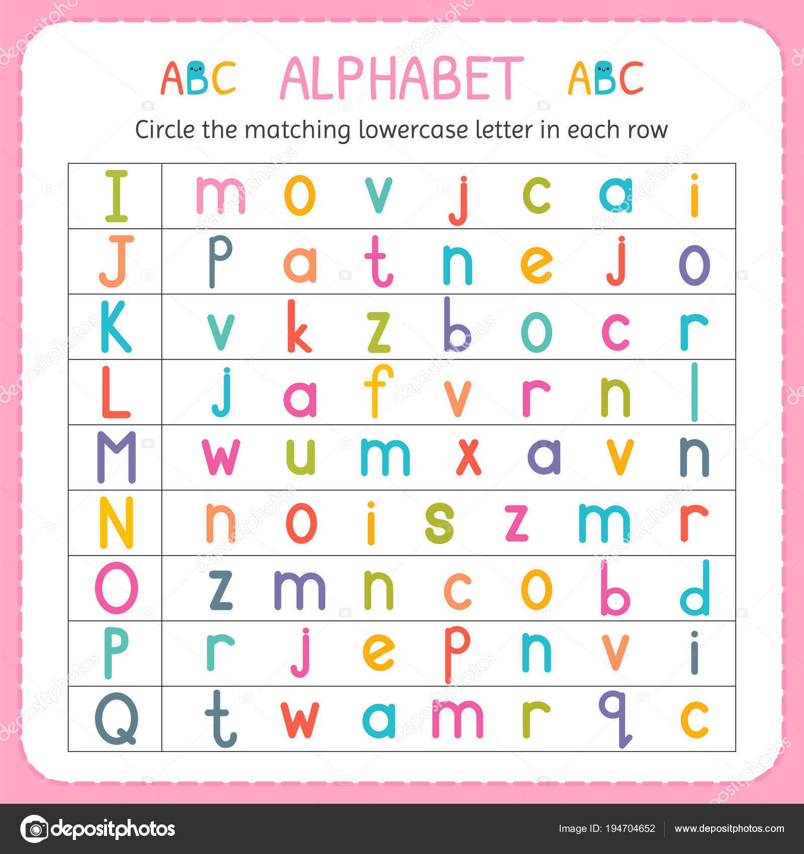 Kreise den passenden Kleinbuchstaben in jeder Zeile. Von I bis q ...