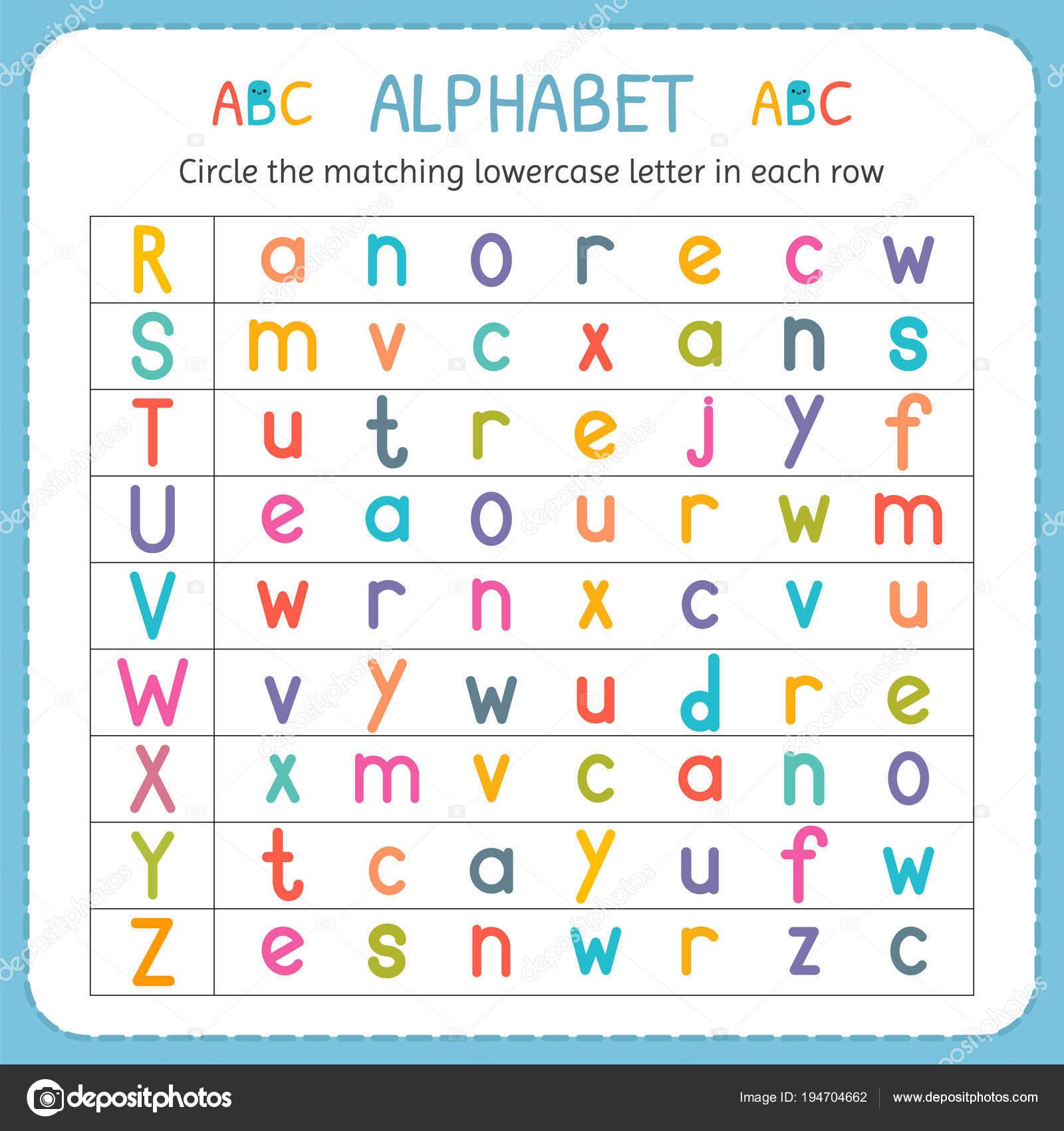 Kreise den passenden Kleinbuchstaben in jeder Zeile. Von R Z ...