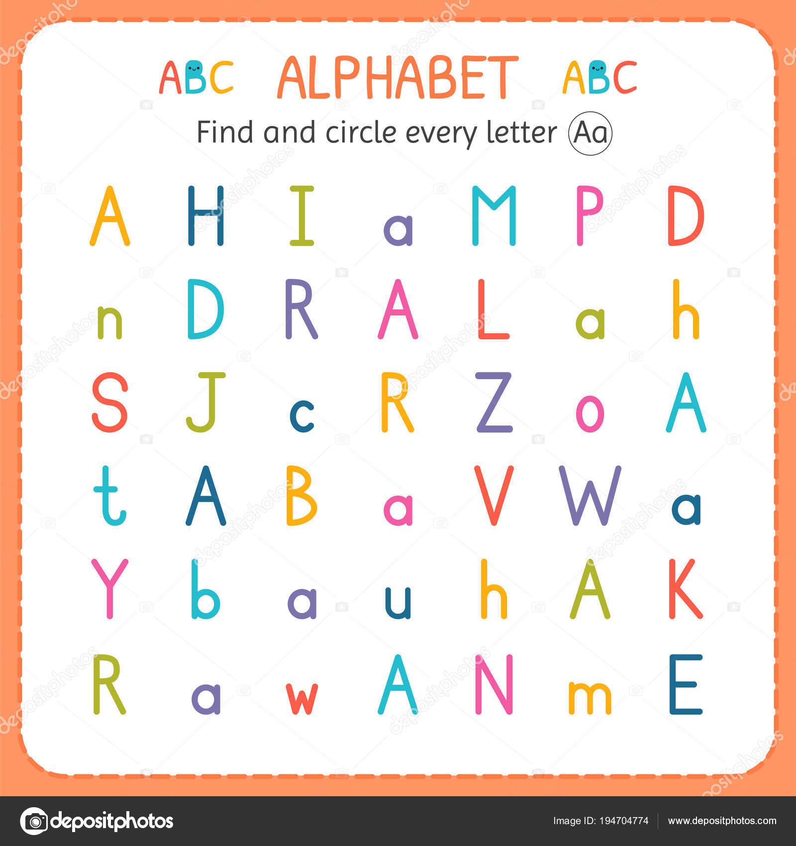 Suche und Kreise jeder Buchstabe A. Arbeitsblatt für Kindergarten ...