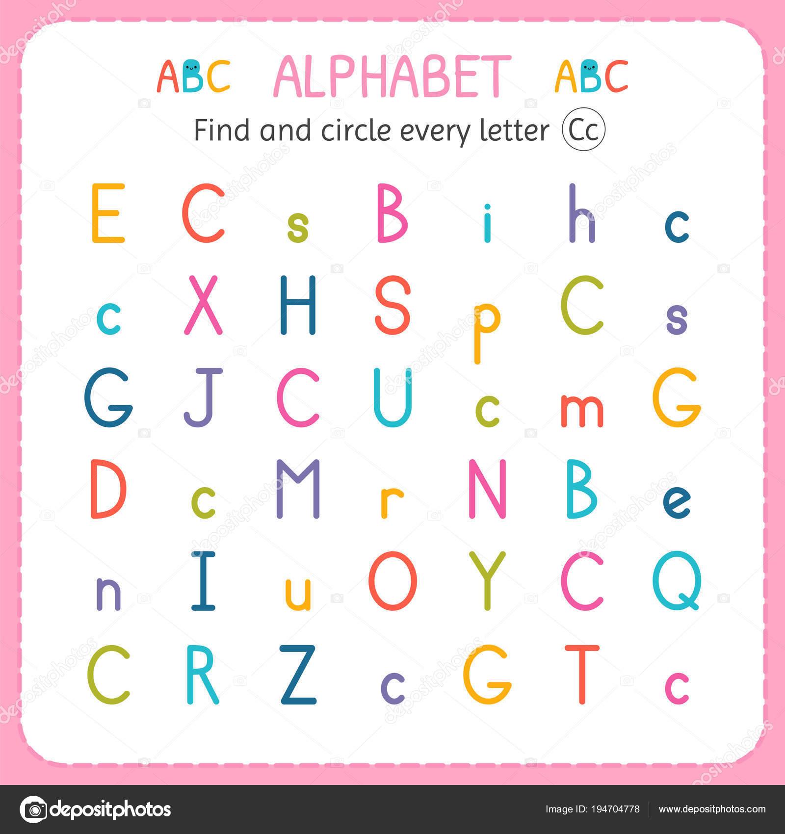 Suche und Kreise jeder Buchstabe C. Arbeitsblatt für Kindergarten ...