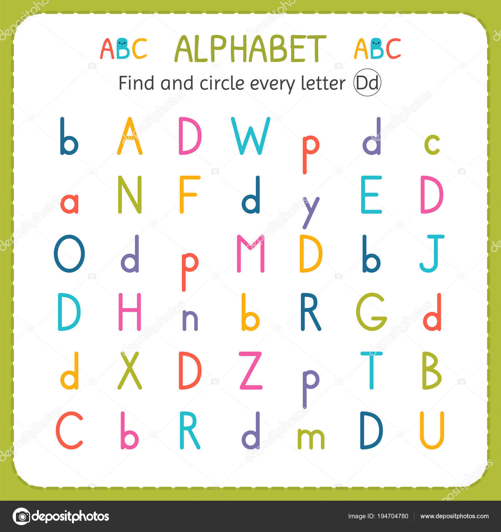 Suche und Kreise jeden Brief D. Arbeitsblatt für Kindergarten und ...