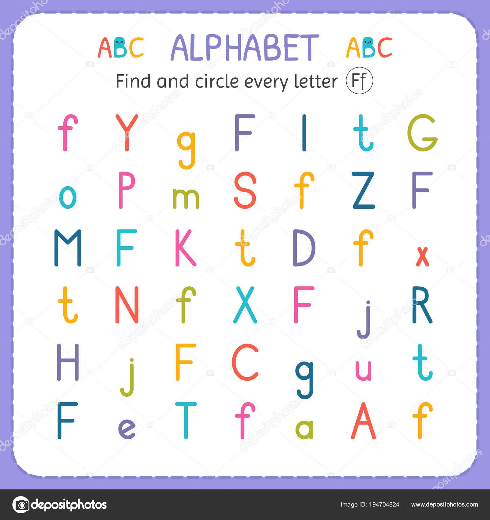 Suche und Kreise jeder Buchstabe F. Arbeitsblatt für Kindergarten ...