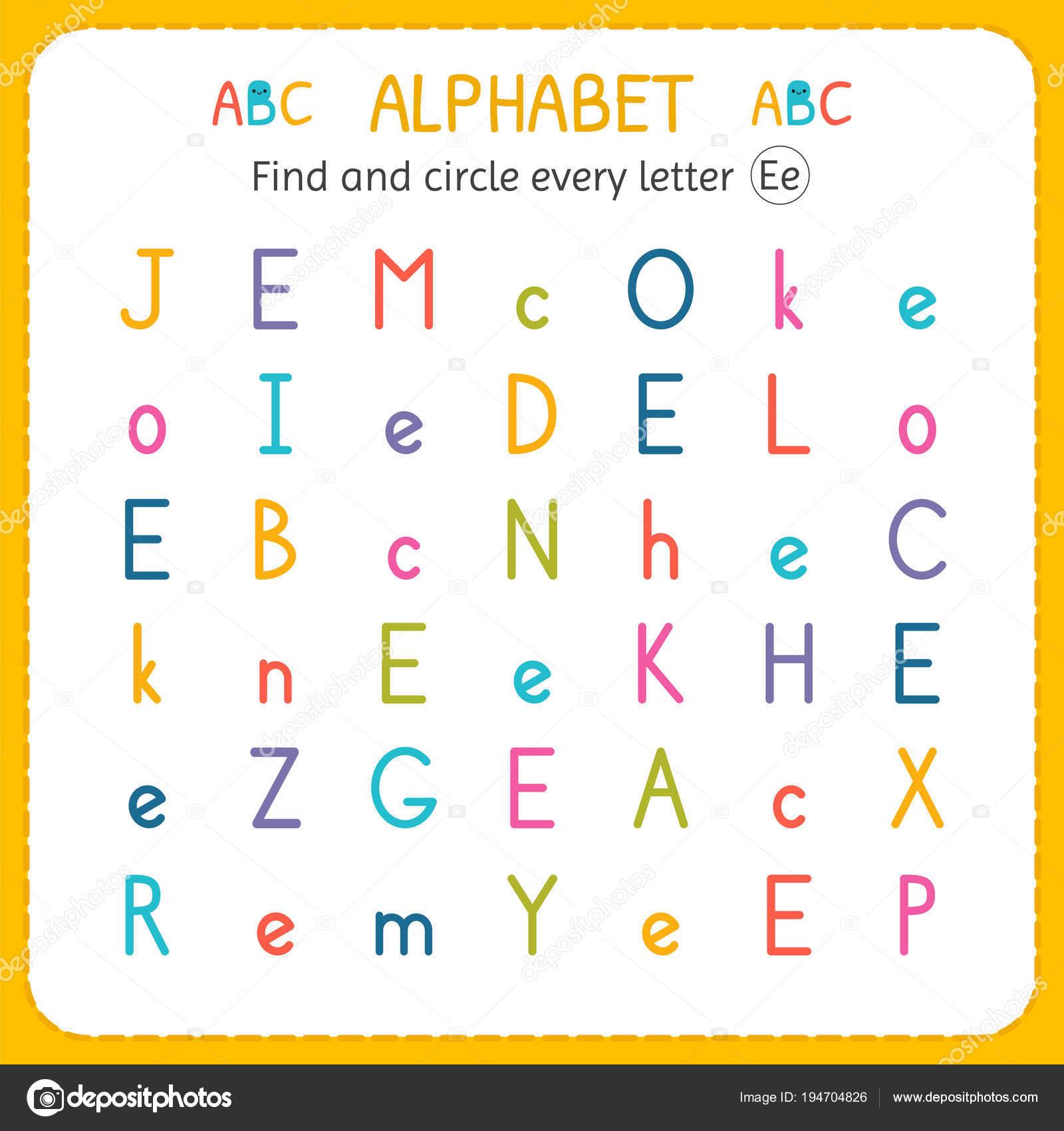 Suche und Kreise jeder Buchstabe E. Arbeitsblatt für Kindergarten ...