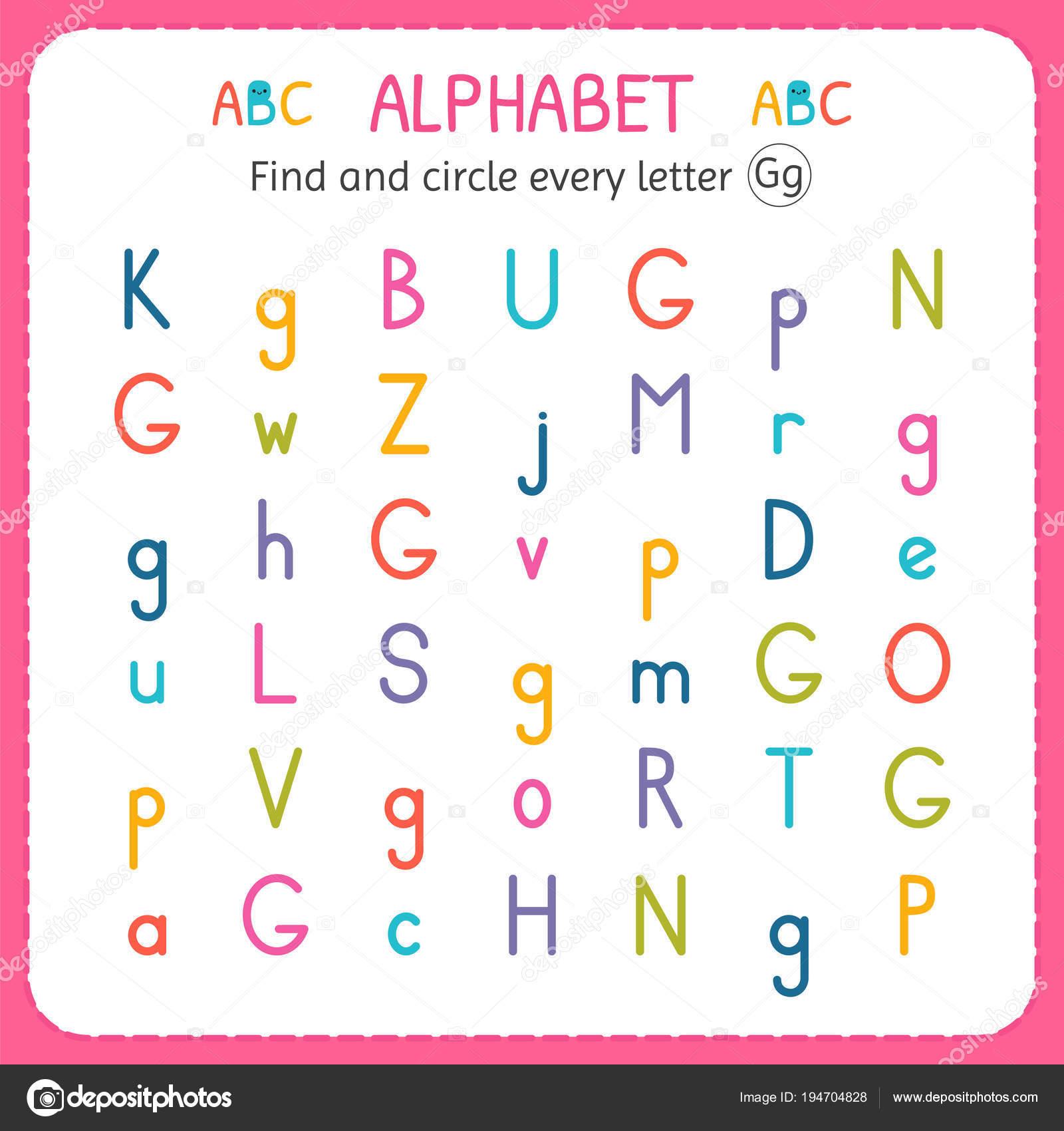 Suche und Kreise jeden Buchstaben G. Arbeitsblatt für Kindergarten ...