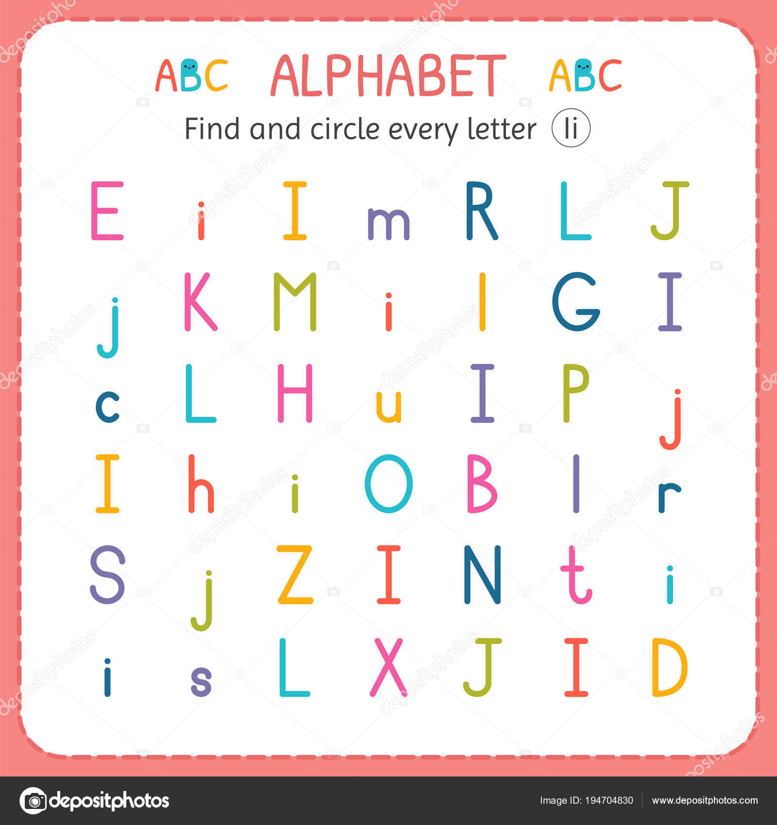 Find and circle every letter I. Worksheet for kindergarten and ...