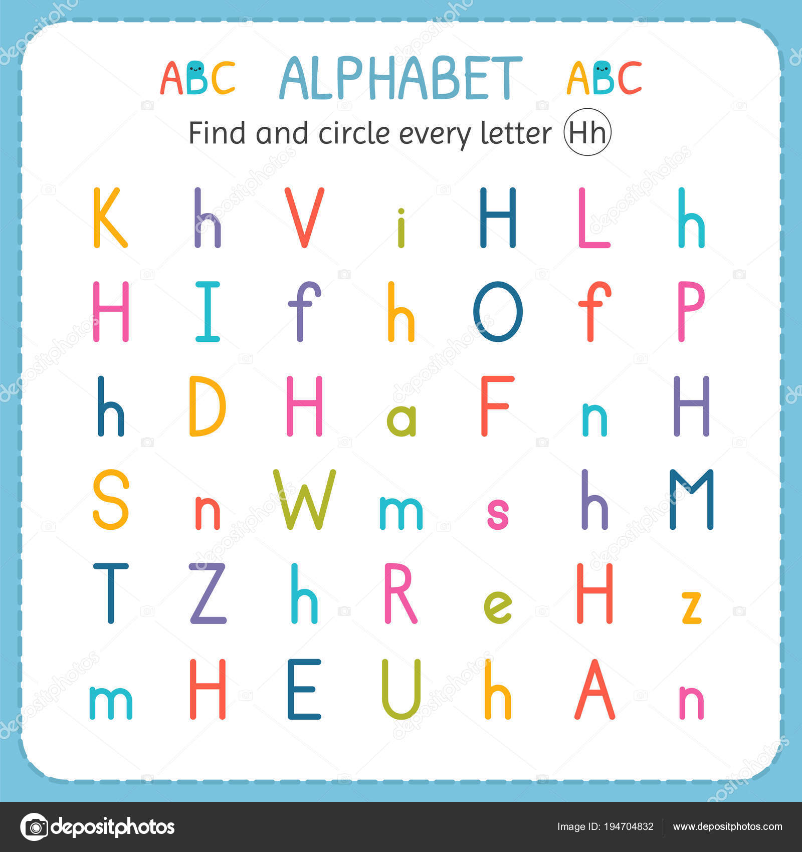 find and circle every letter h worksheet for kindergarten and  find and circle every letter h worksheet for kindergarten and preschool  exercises for children