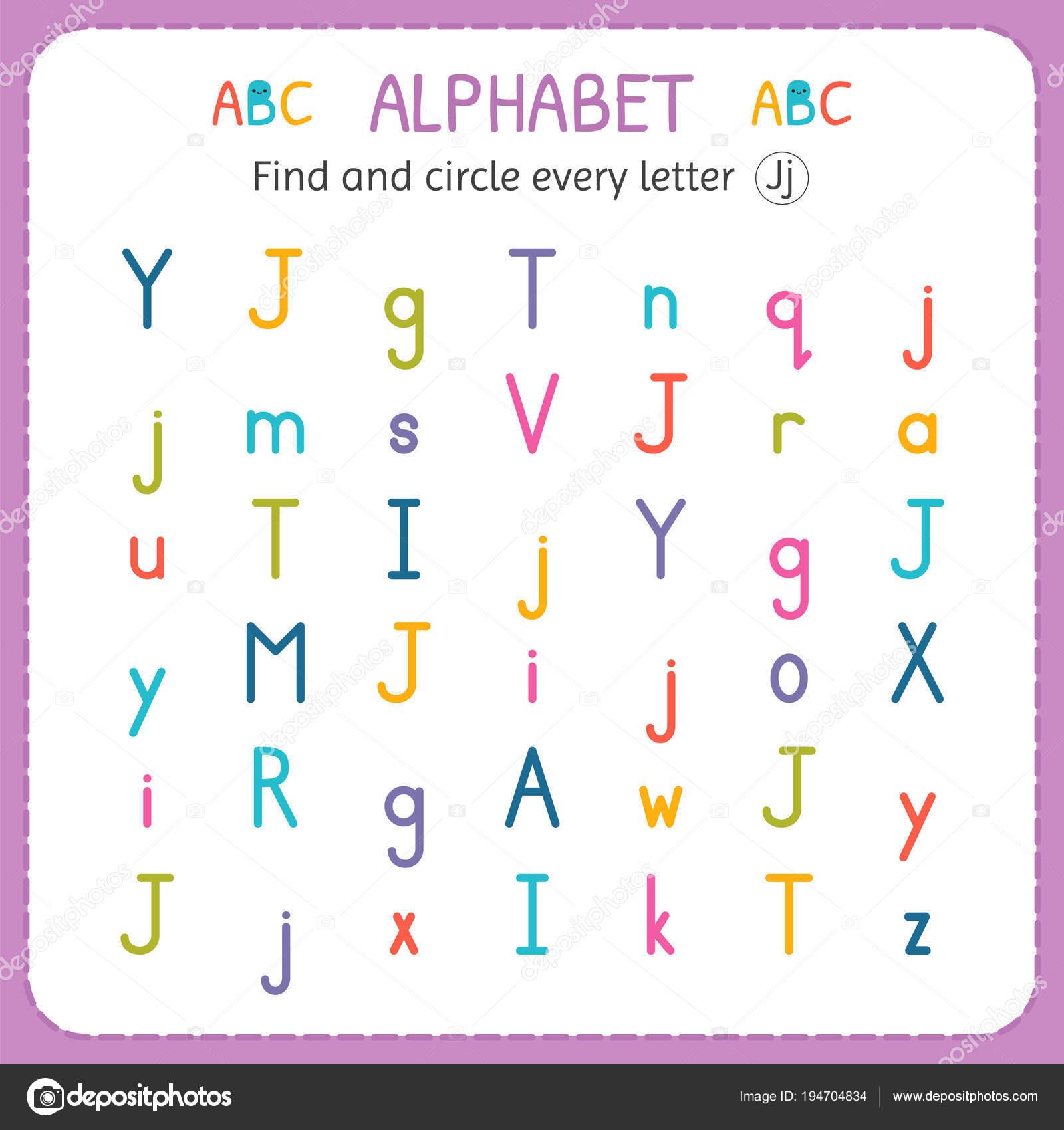 Suche und Kreise jeder Buchstabe J. Arbeitsblatt für Kindergarten ...