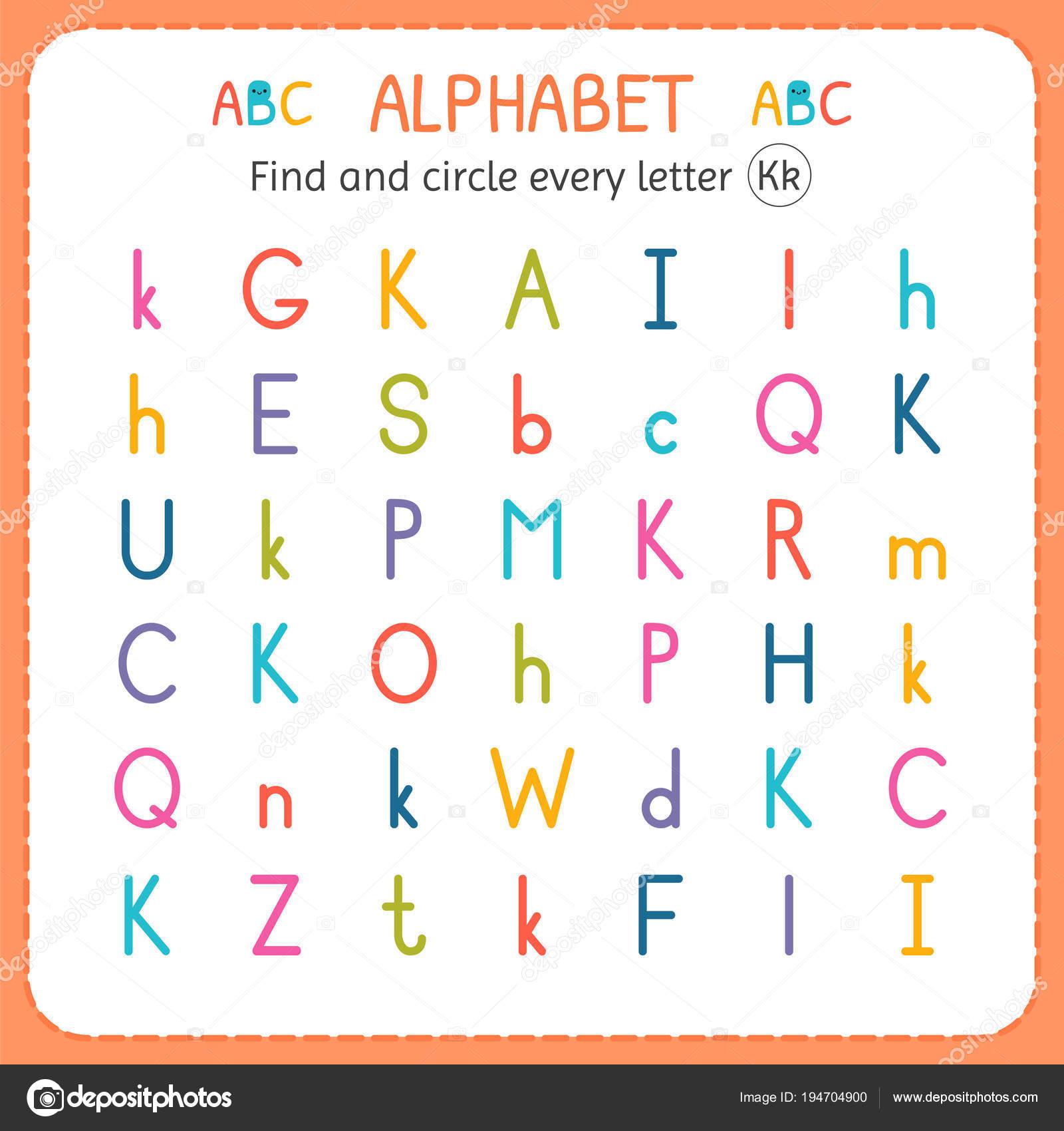 Suche und Kreise jeder Buchstabe K. Arbeitsblatt für Kindergarten ...