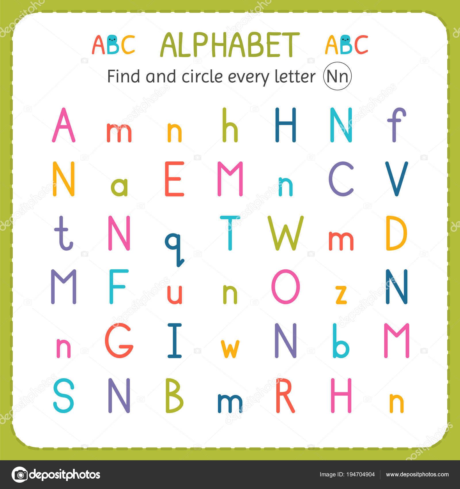 Suche und Kreise jeden Buchstaben N. Arbeitsblatt für Kindergarten ...