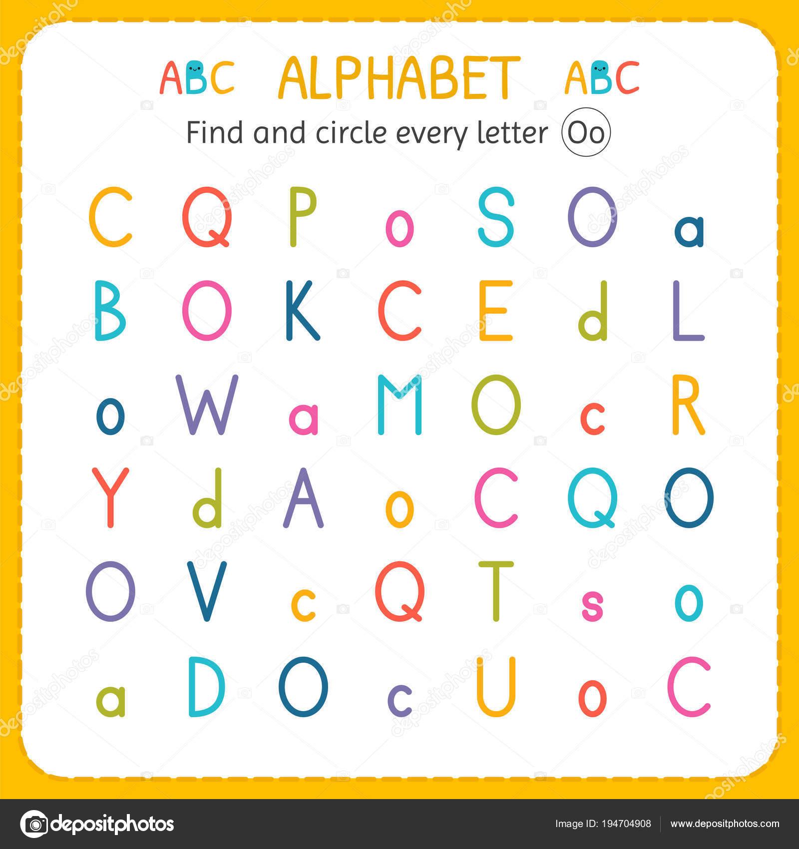 Suche und Kreise jeden Buchstaben O. Arbeitsblatt für Kindergarten ...