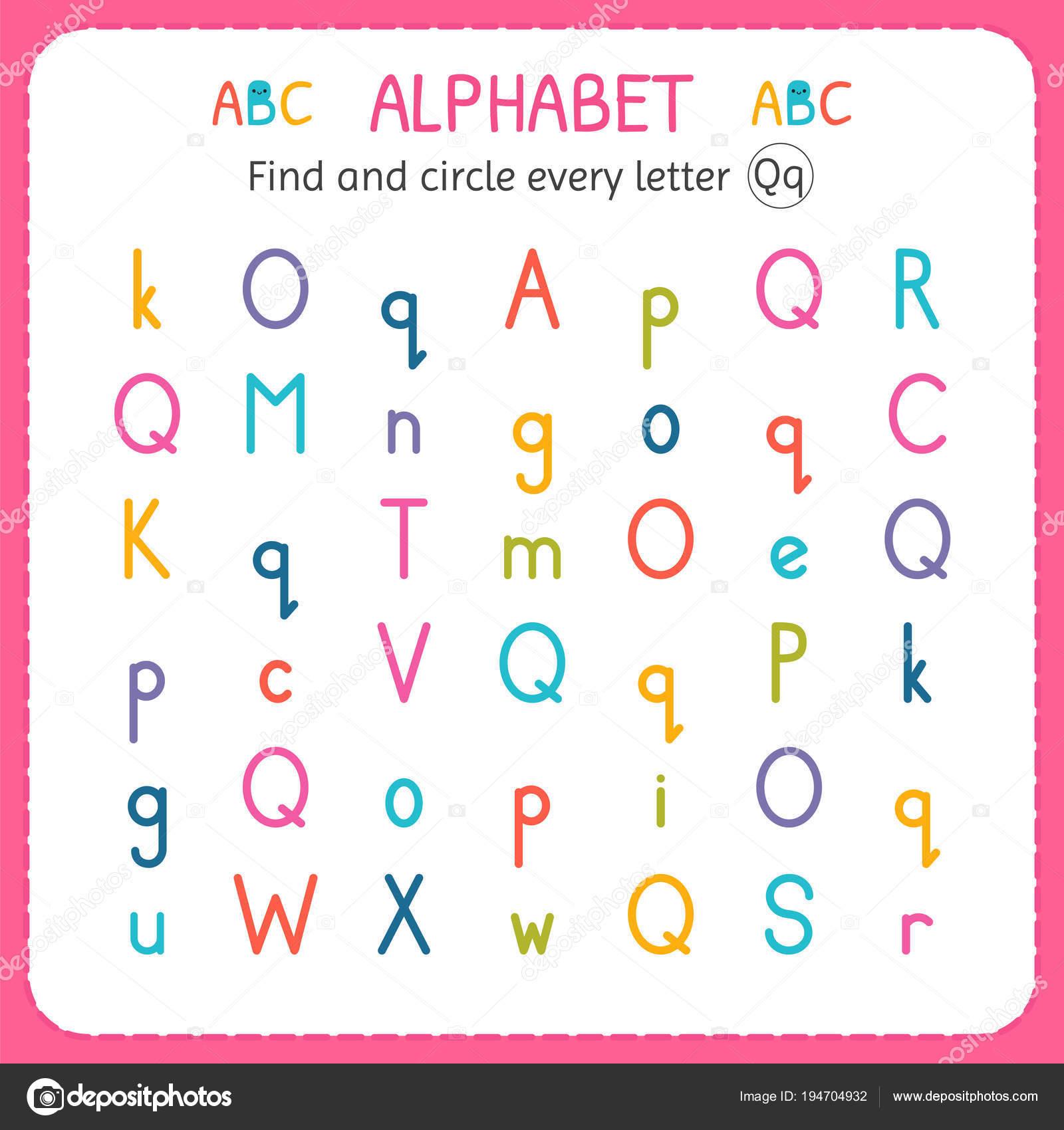 Suche und Kreise jeder Buchstabe q Arbeitsblatt für Kindergarten und ...