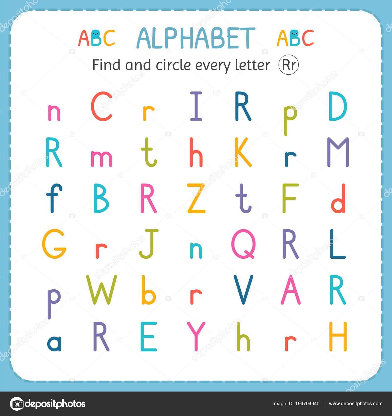 Suche und Kreise jeden Buchstaben R. Arbeitsblatt für Kindergarten ...