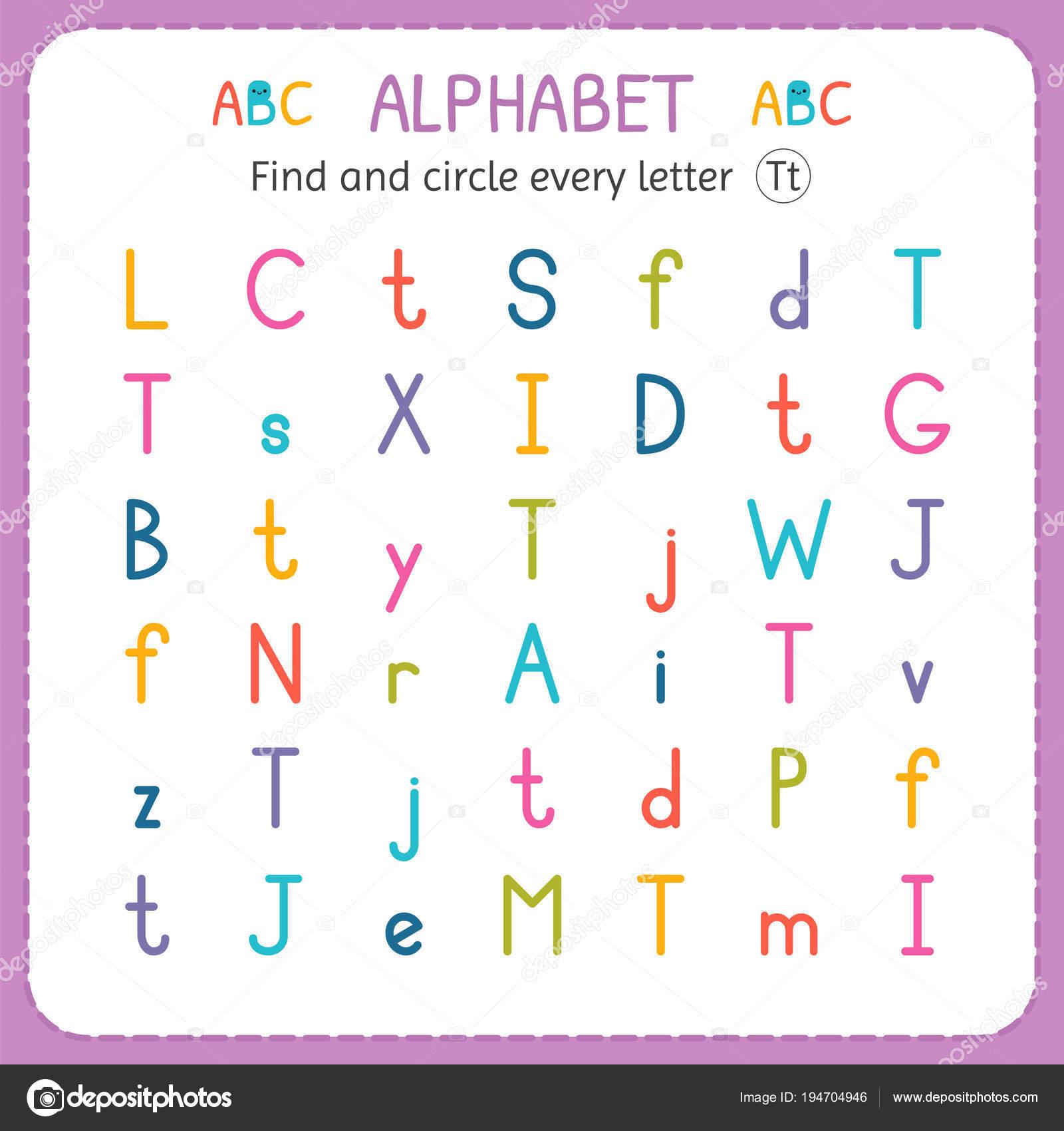 Suche und Kreise jeder Buchstabe T. Arbeitsblatt für Kindergarten ...