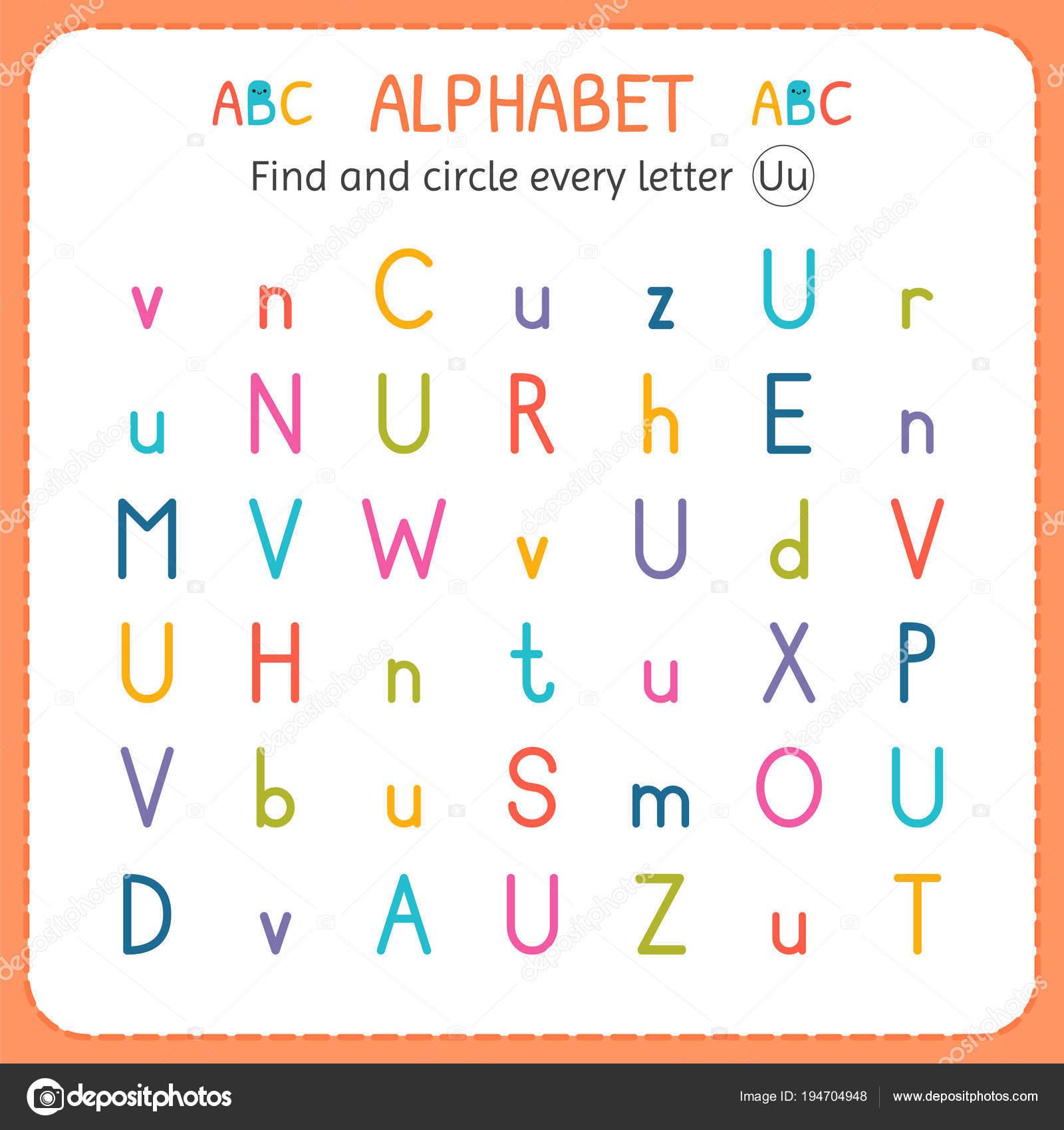 Suche und Kreise jeden Buchstaben U. Arbeitsblatt für Kindergarten ...