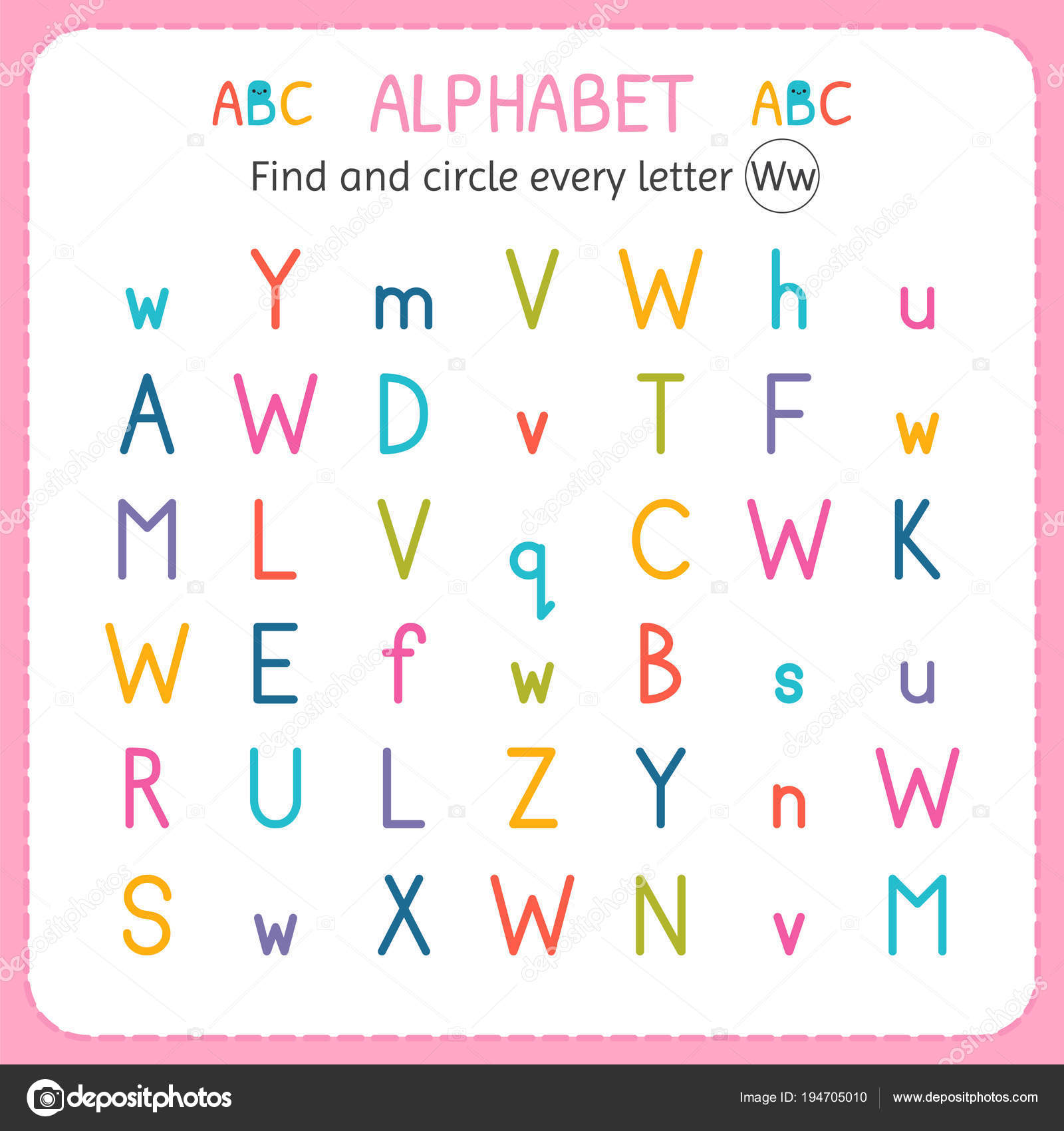 Find And Circle Every Letter W. Worksheet For Kindergarten And Preschool.  Exercises For Children