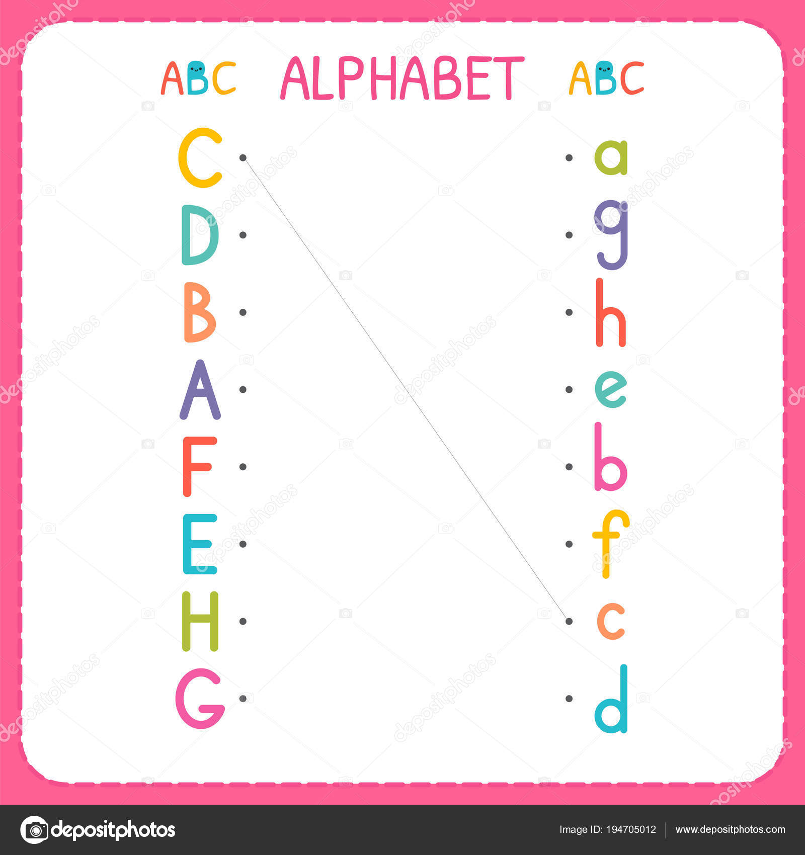 Begleiten Sie jeden Großbuchstaben mit den Kleinbuchstaben. Von A ...
