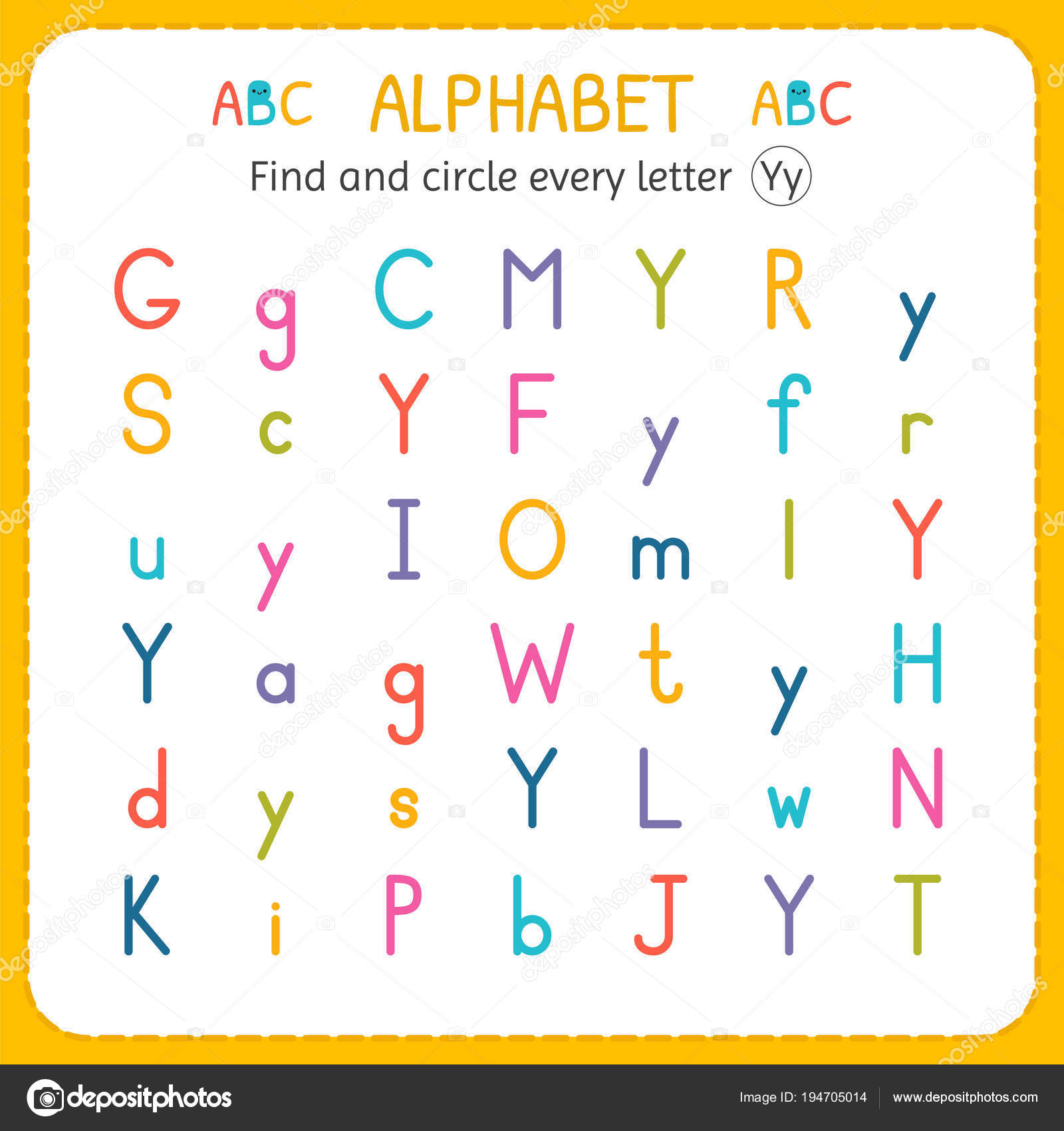 Find And Circle Every Letter Y Worksheet For Kindergarten And