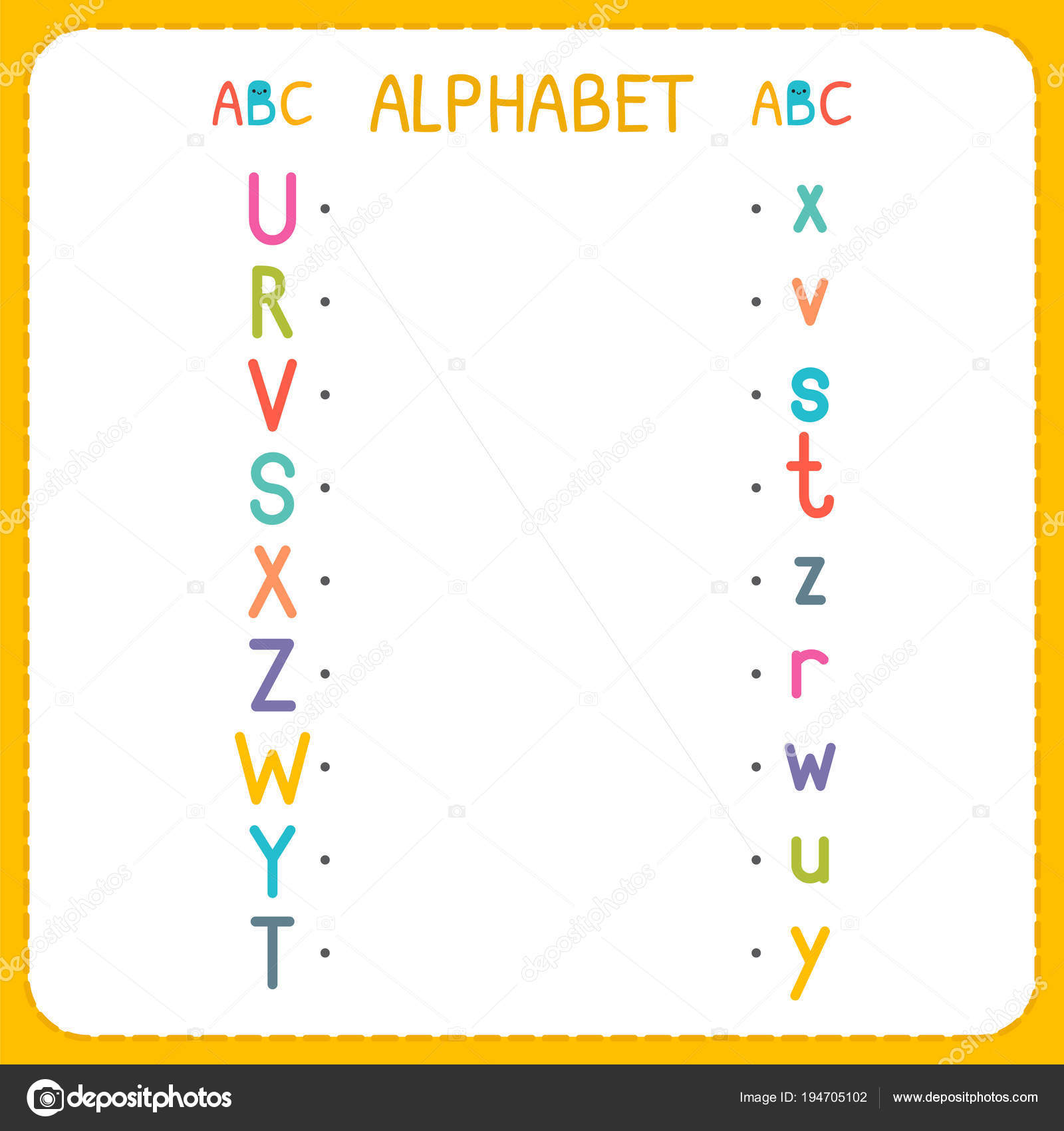 Begleiten Sie jeden Großbuchstaben mit den Kleinbuchstaben. Von R Z ...