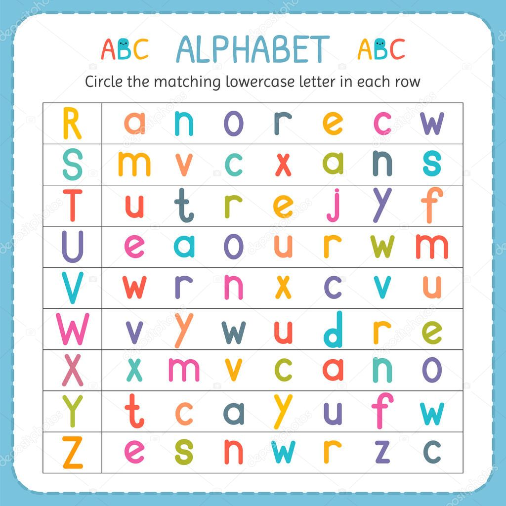 Circle the matching lowercase letter in each row. From R ...