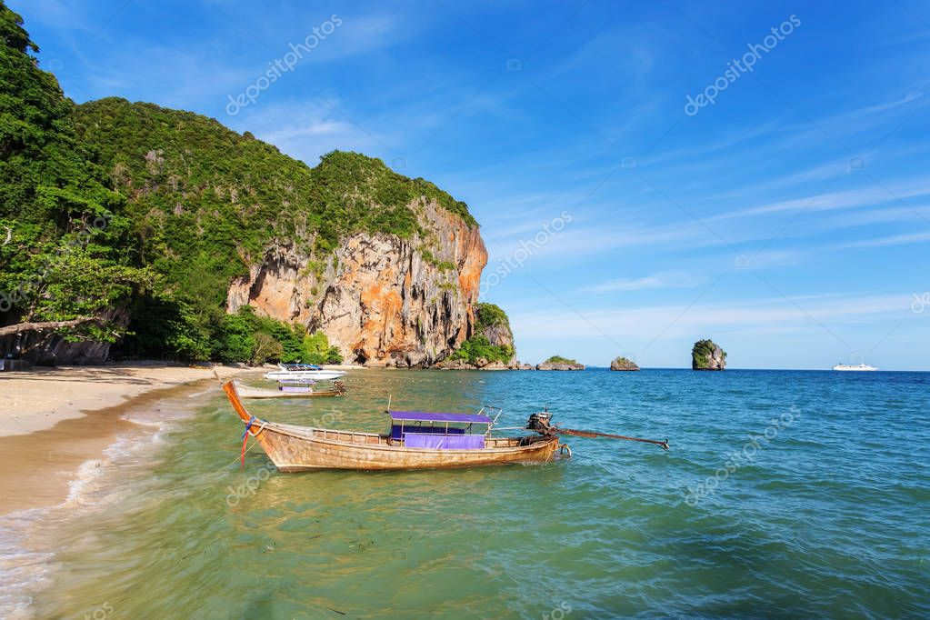 wood boat in the sea of Thailand.