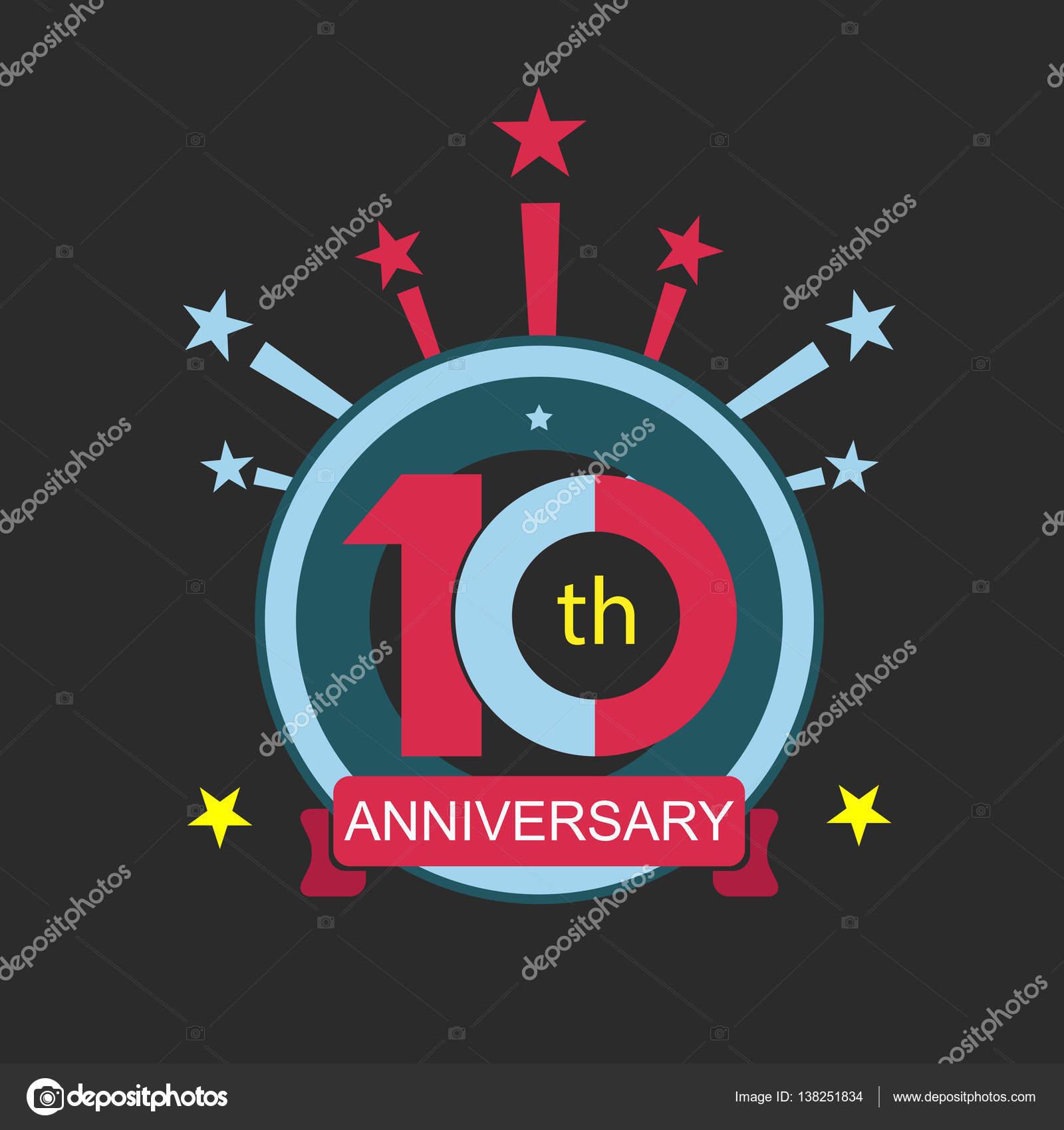 Ten Symbol Years Anniversary Logo Discount Stock Vector