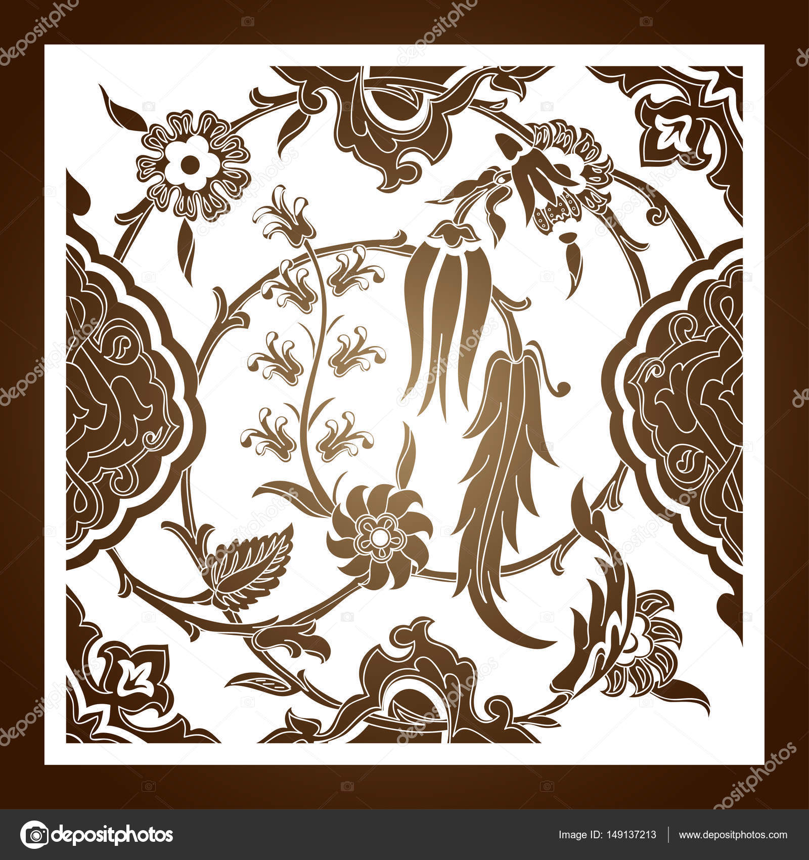Lasergeschnittenes floralen Arabeske Ornamente Muster Vektor ...