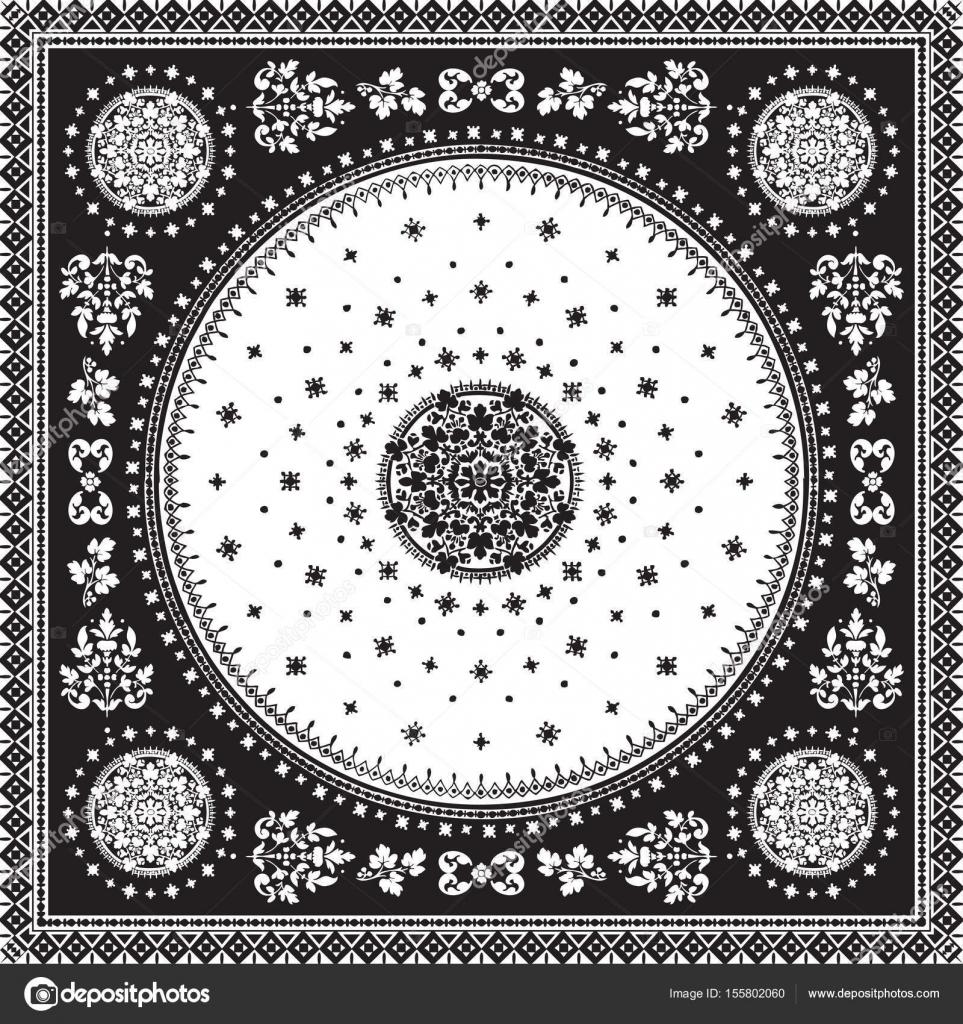 Vector de alfombra ornamental victoriano floral medallón paisley ...