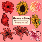 Flowers in bloom - small collection pack. Ornamental isolated vectors with floral elements.