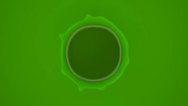 Vista della piccola goccia cadendo nel liquido verde