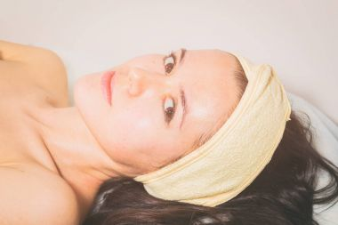 Cosmetic facial treatment at the spa.
