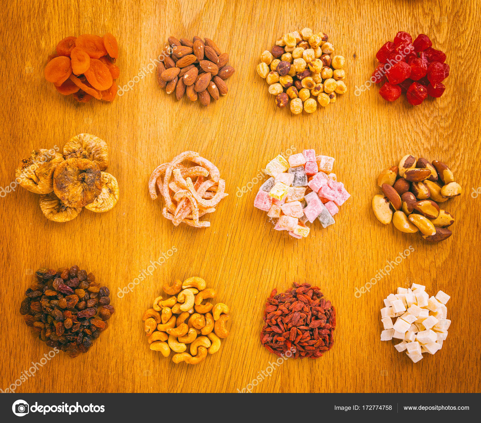 Handful of different dried fruits and nuts — Stock Photo