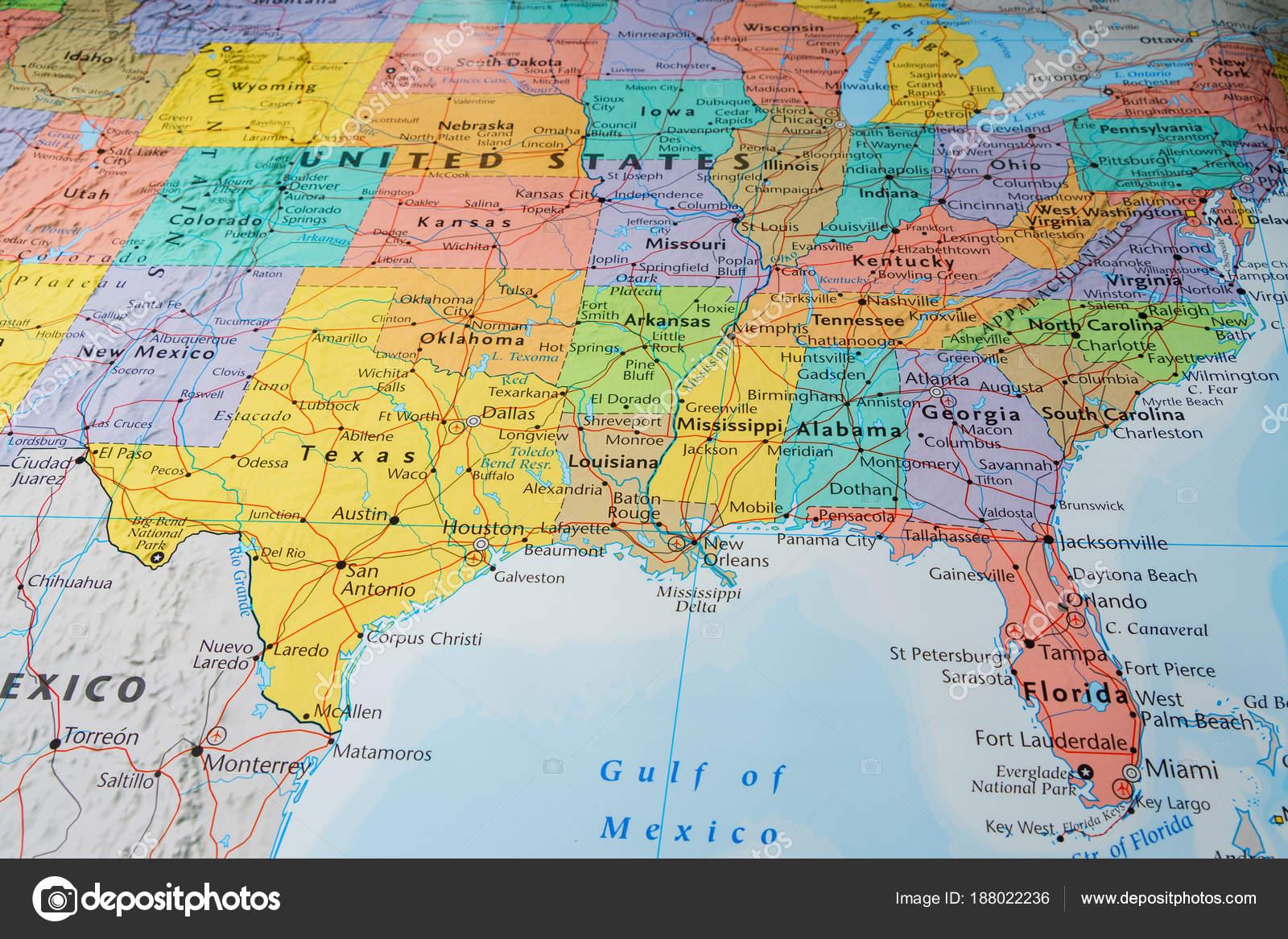 South Usa Staaten Auf Der Karte — Stockfoto © aallm #188022236