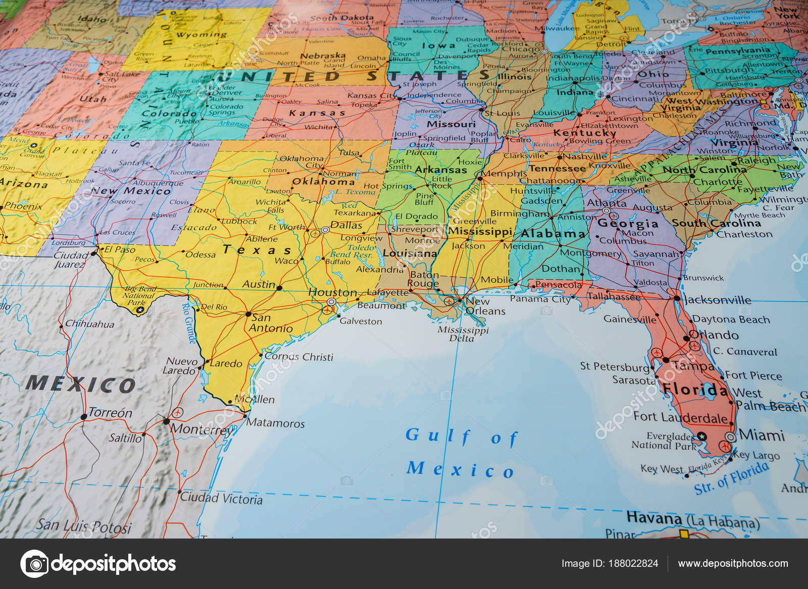 South Usa States Map — Stock Photo © aallm #188022824