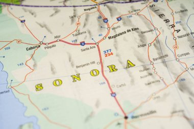 Sonora Mexico map travel background