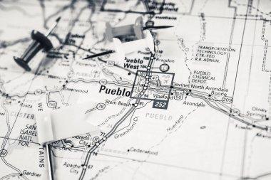 Pueblo USA map travel background