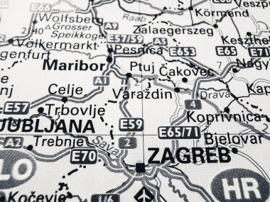 Zagreb on a road map of Europe