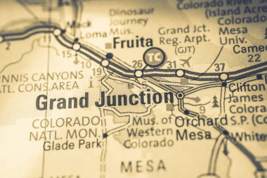 Grand Junction USA map travel background
