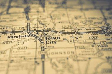 Iowa city on USA travel map background