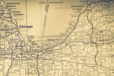 Chicago on USA travel map background