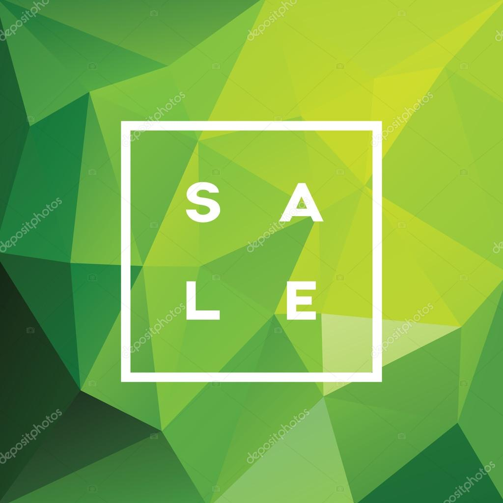 Spring Sale Banner On Green Low Poly Background With Elegant Typography For Luxury  Sales Offers In Fashion. Modern Simple, Minimalistic Design With Polka ...