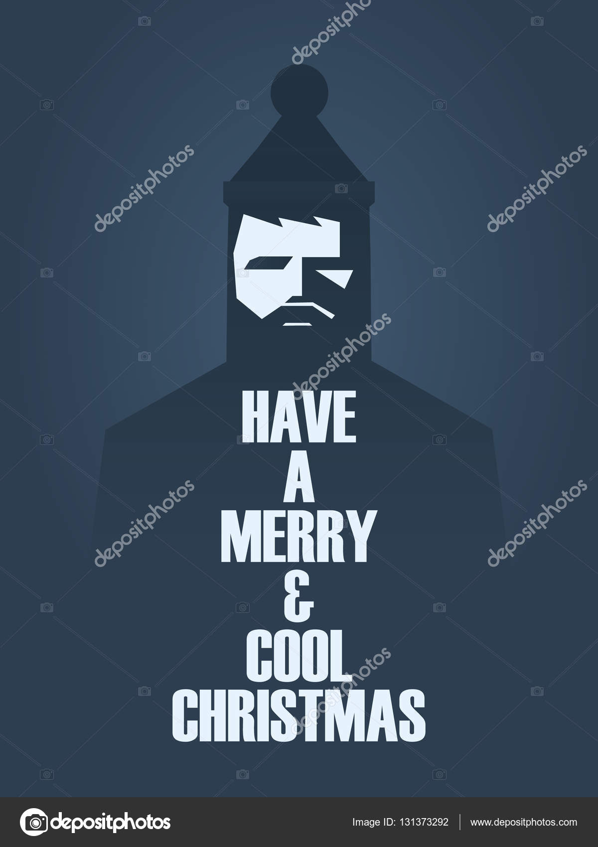 hipster vintage style christmas vector card template with man in hat