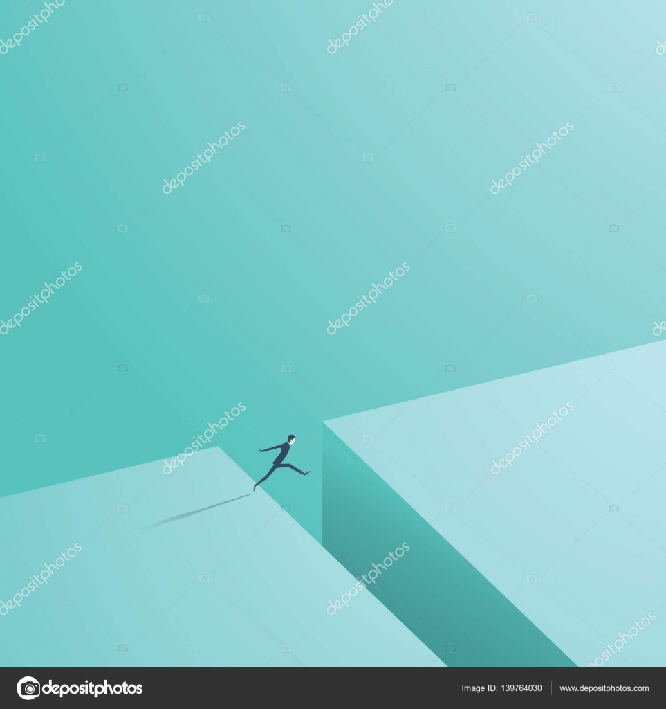 Businessman Jumping Over Gap As A Symbol Of Business Risk And